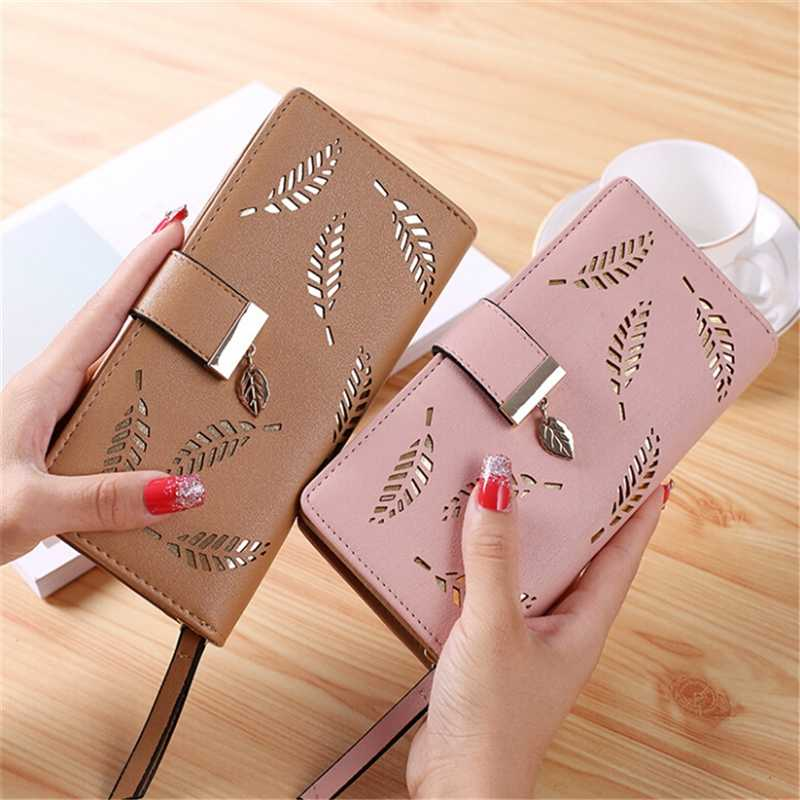 2019 브랜드 중공 여성 지갑 부드러운 PU 가죽 여성용 클러치 지갑 여성 디자이너 지갑 동전 카드 지갑