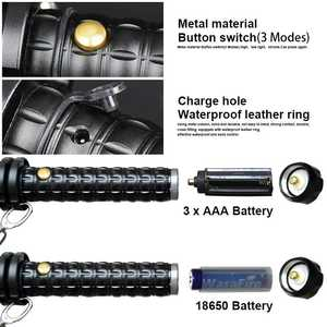 Image 3 - Sets Powerful Zoomable XML Q5 Led Flashlight Telescopic Self Defense Stick Tactical Baton Rechargeable Flash Light Torch 18650