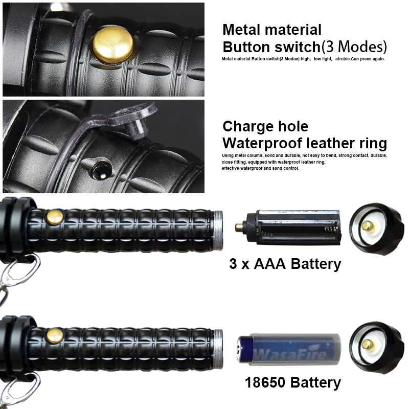 Sets Powerful Zoomable XML Q5 Led Flashlight Telescopic Self Defense Stick Tactical Baton Rechargeable Flash Light Torch 18650
