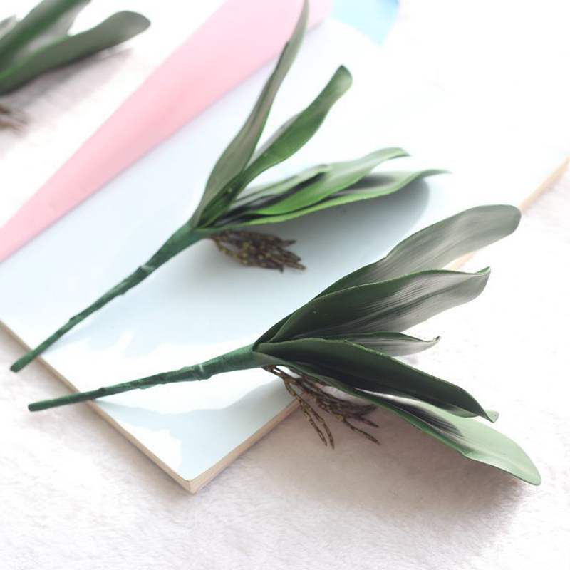Artificial Moth Orchid Plant Leaf Real Touch Leaf Decoration Fake Flower Accessory Material Flower Decoration Orchid Leaf in Artificial Dried Flowers from Home Garden