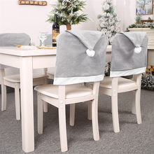 Christmas Chair Cover Gray Non-woven Big Hat Stool Set Seat Cover for Banquet Christmas Decorations for Home Housse de Chaise(China)