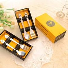 Нержавеющая сталь мультфильм смайлик посуда из двух частей Ложка Вилка корейский стиль подарок 2 шт Подарочная коробка