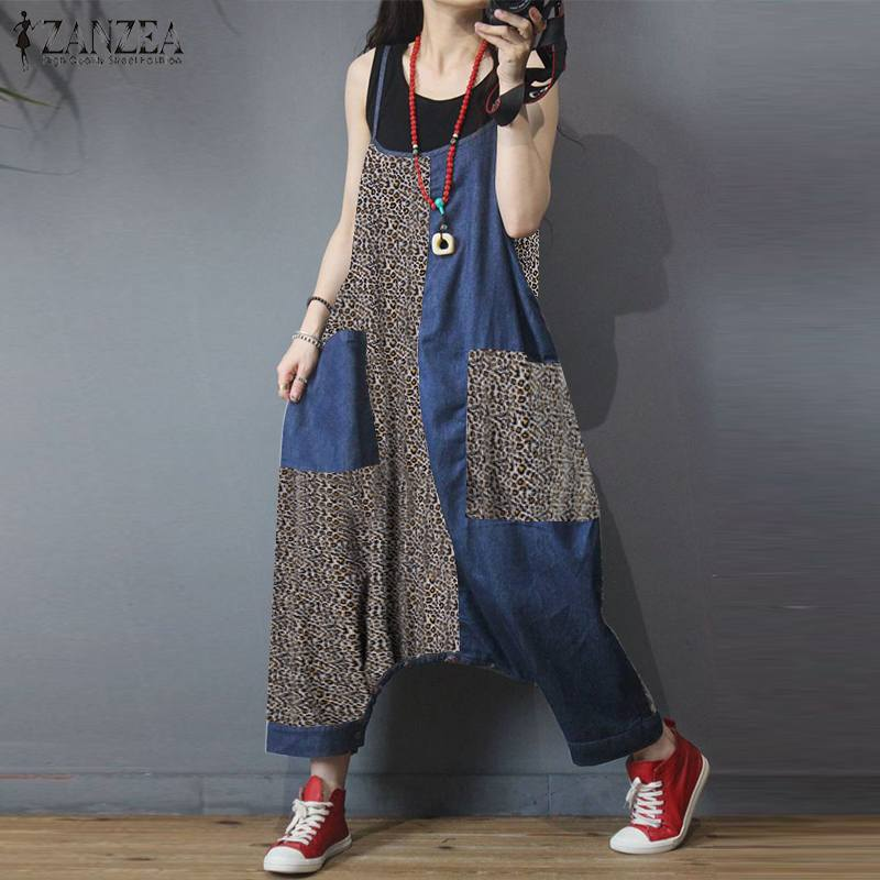 Summer Patchwork Drop Crotch Jumpsuits ZANZEA Fashion Leopard Print Rompers Women Casual Strapps Long Overalls Dungarees Pants 7