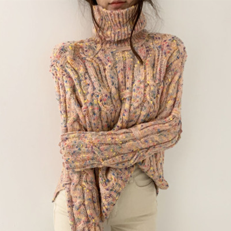 WAVSIYIER 2020 Spring Winter Women Turtleneck Sweater Female Twisted Mixed Color Thick Knitted Ladies Jumper Woman Pullover Chic