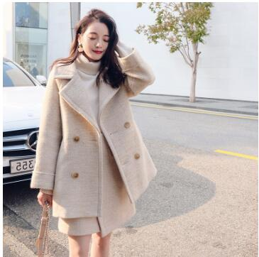 Lanxirui Women Two Piece Outfits Autumn And Winter New Cashmere Long Herringbone Pattern Turn-down Collar Pockets Button