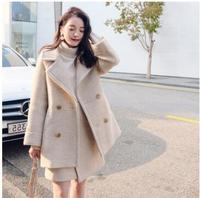 Lanxirui Women Two Piece Outfits Autumn and Winter New Cashmere Long Herringbone Pattern Turn down Collar Pockets Button