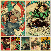 Póster de Demon Slayer: Kimetsu no Yaiba Tanjirou Nezuko, Papel Kraft Vintage, decoración de hogar para habitaciones, pegatinas de pared