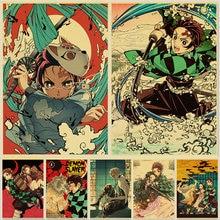 Cazador de demonios: Kimetsu no Yaiba Tanjirou Nezuko Anime Poster de papel Kraft carteles Vintage decoración de hogar para habitaciones pegatinas de pared