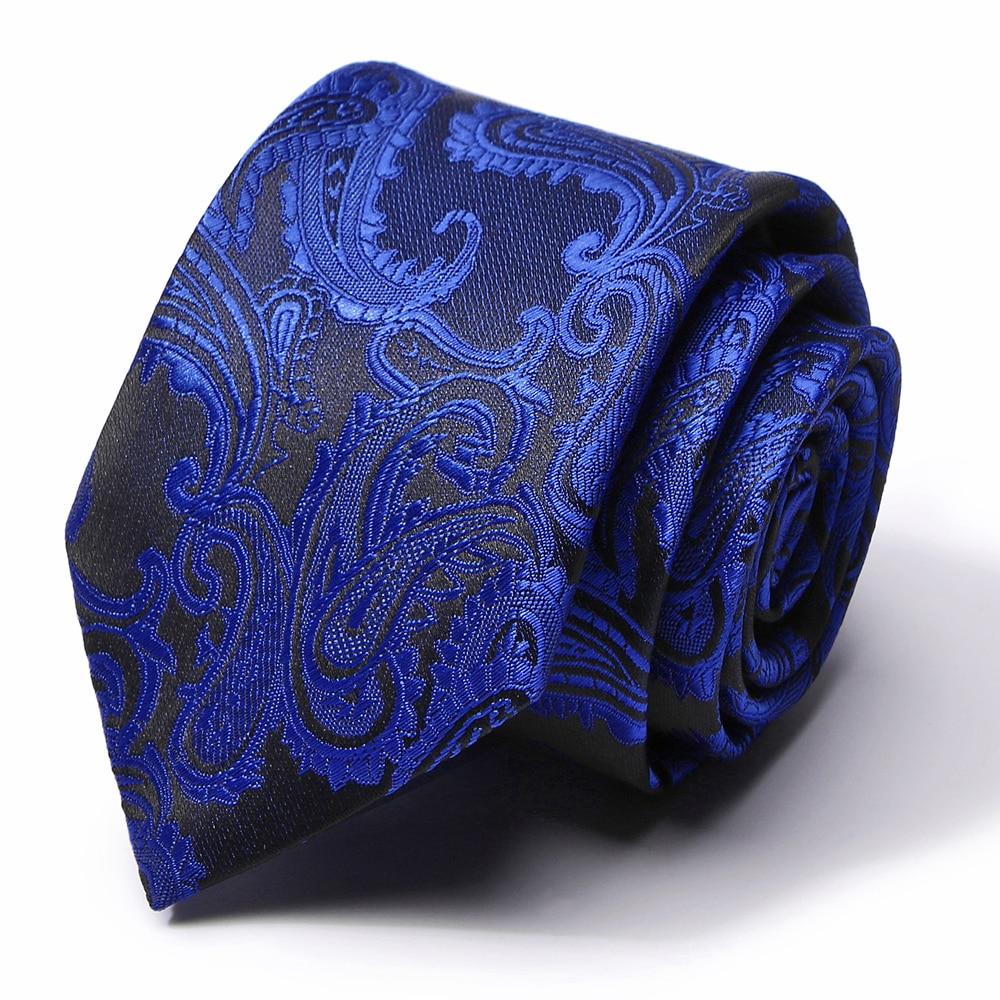 New 100% Silk Blue Stripe Ties For Men 7.5 Cm Width Mens Ties Luxury Business Formal Neckties Luxury Wedding Party