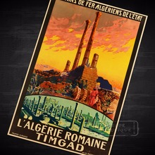 Ciudad colonial romana Argelia visita paisaje viaje cartel de viaje Retro Vintage lienzo DIY pared pegatina hogar Bar carteles de decoración