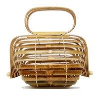 대나무 가방 여성 탑 핸들 비치 가방 여름 Boho 짠 나무 중공 여성 클러치 핸드백 비치 여름 핸드백