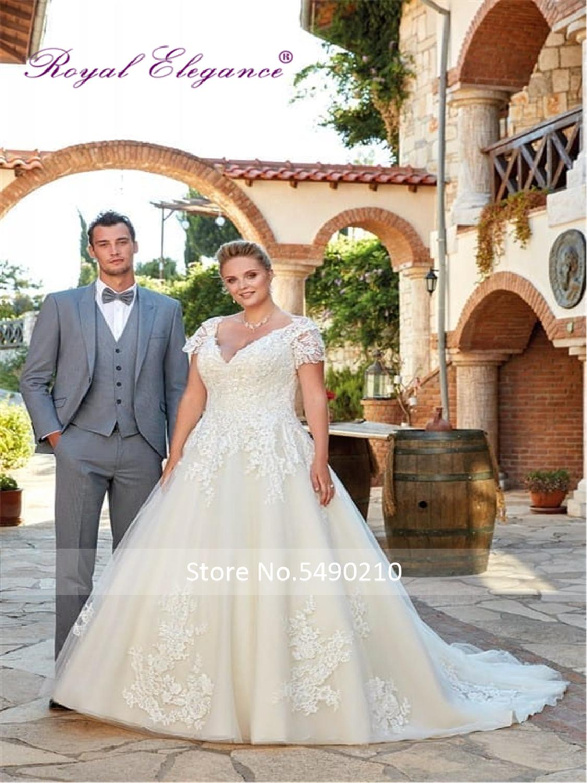Royal Elegance Factory Made Wedding Dress Plus Size V Neckline Bridal Wear Tulle Lace Appliques Wedding Gowns