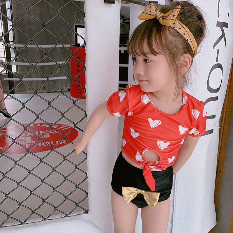 2019 Korean-style GIRL'S Swimsuit Split Type Cute Children Boxer Big Boy Baby Bow Princess Swimwear