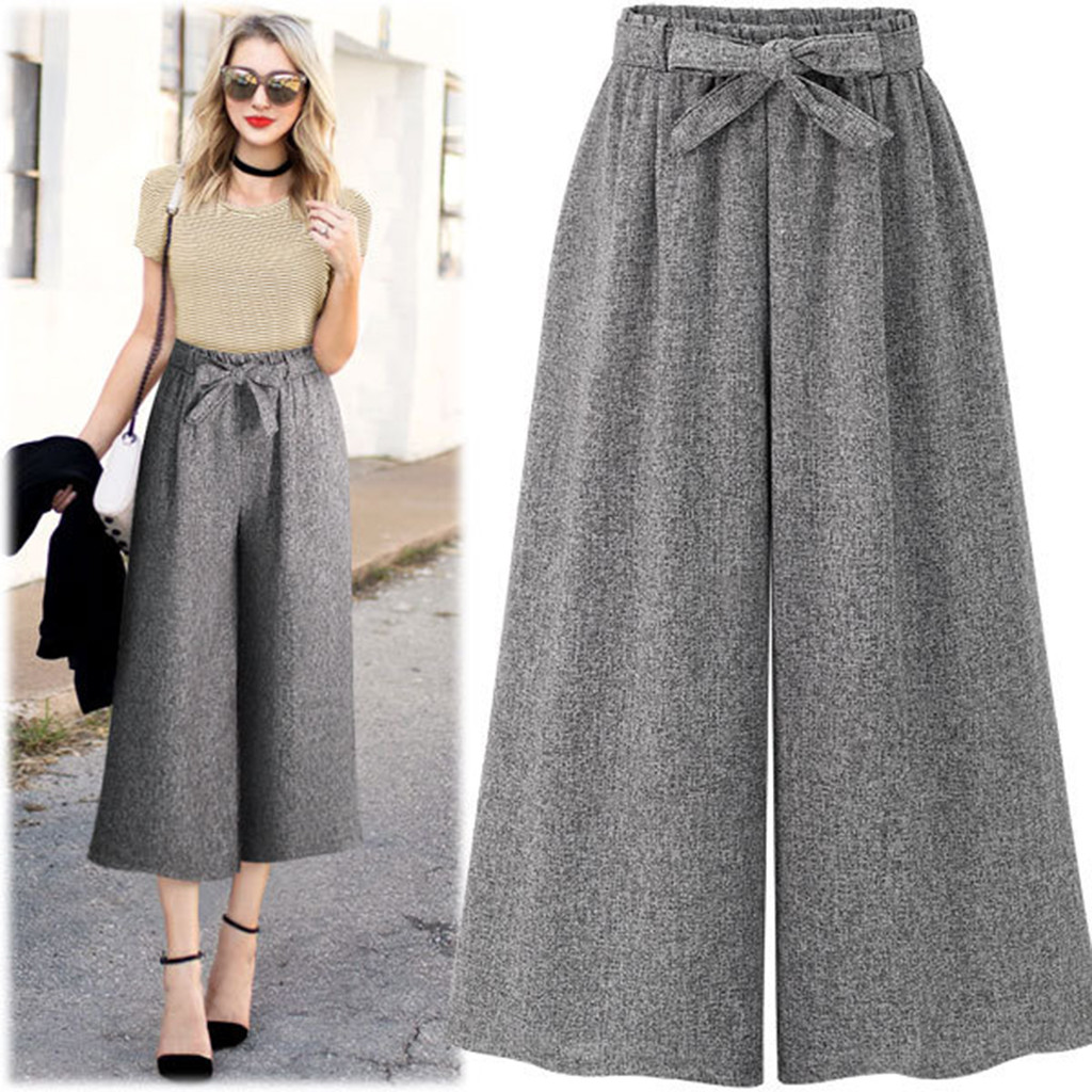 2019 Spring Autumn New Winter Womens Casual Loose Elastic Waist Solid Trouser   Wide     Leg     Pants   women Soft Leisure Casual Loose