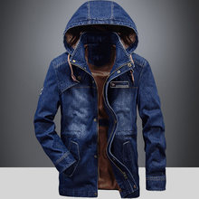 Autumn Winter Denim Jacket Men Fashion Mid-long Hooded Collar Jeans Coat Men Windbreaker Blue Jean Jacket chaqueta Jeans M-XXXL