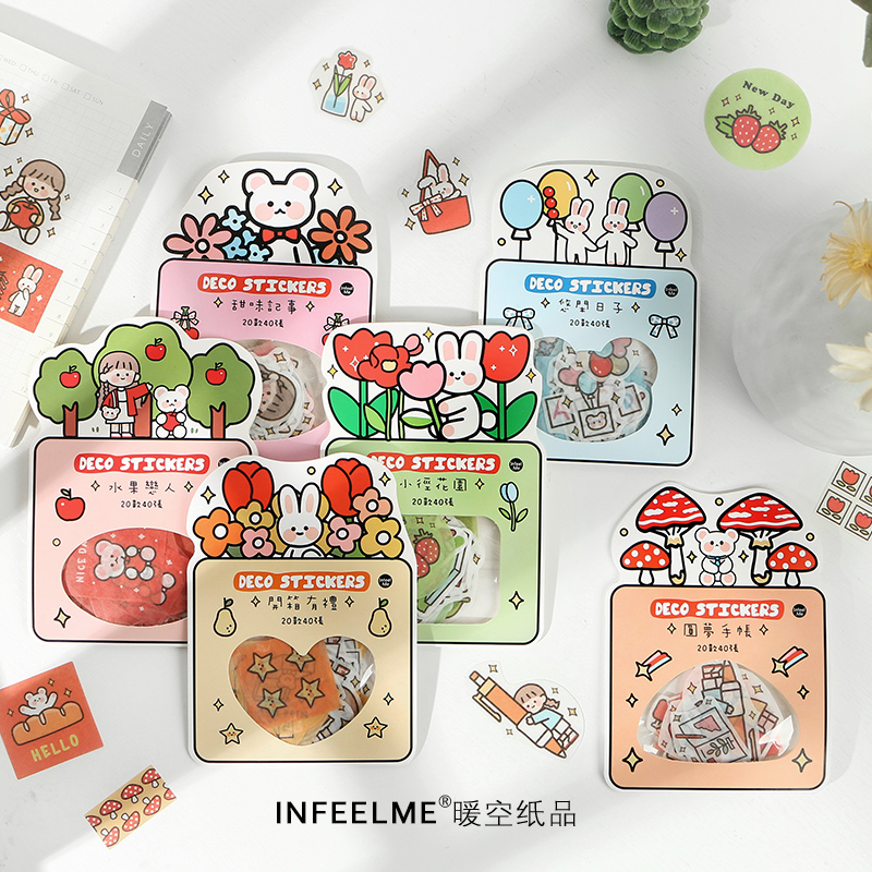 Girlhood Series Bullet Journal Decorative Stationery Kawaii Girl Flower Stickers Set Scrapbooking DIY Diary Album Stick Lable