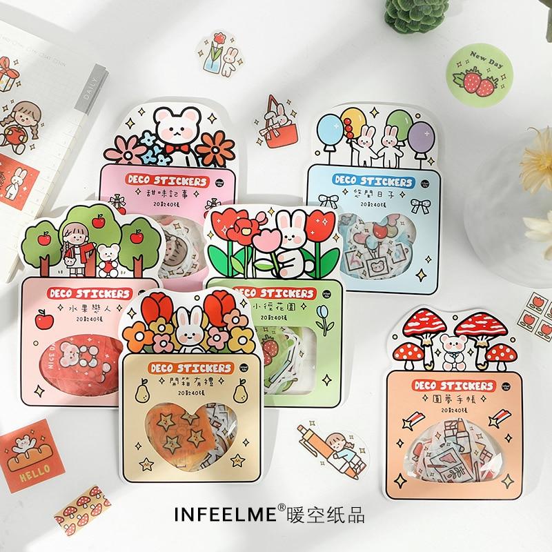 Girlhood Series Bullet Journal Decorative Stationery Kawaii Girl Flower Stickers Set Scrapbooking DIY Diary Album Stick Lable