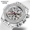 Reloj de cuarzo transparente con diamantes para hombres y mujeres, reloj de pulsera personalizado resistente al agua, reloj de pareja para amantes de hombres