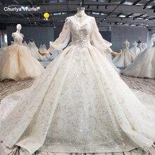 HTL1075 modeste robe de mariée élégant col haut à lacets dos cristal perle à manches longues dentelle robe de mariée de luxe suknia ślubna 2020