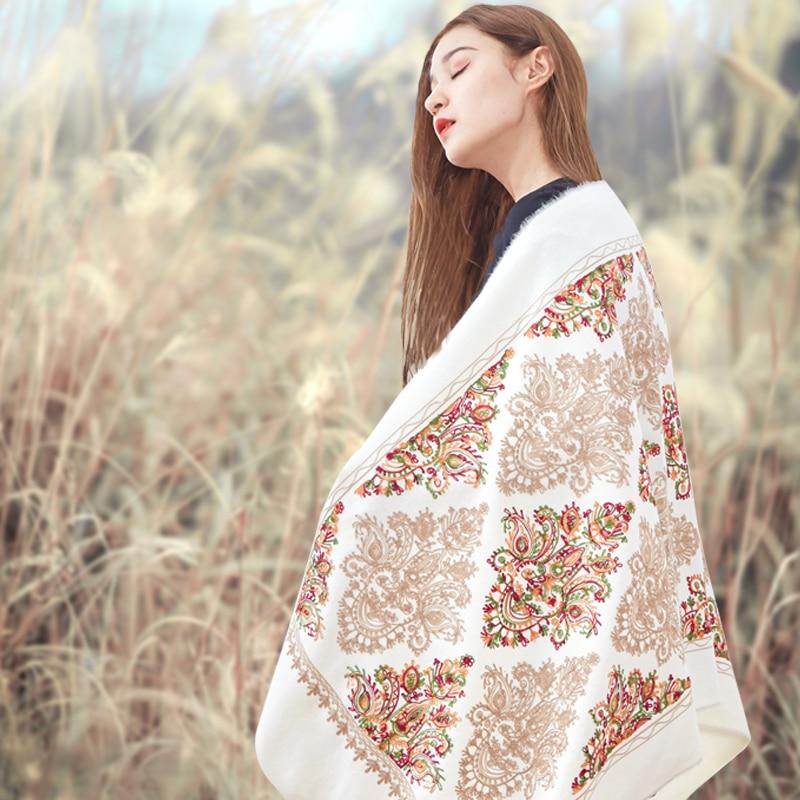 Image 2 - 高級ブランドカシミヤ女性刺繍スカーフストール暖かいショールバンダナスカーフイスラム教徒ヒジャーブビーチブランケットフェイスシールド スカーフ    グループ上の アパレル アクセサリー からの レディース スカーフ の中
