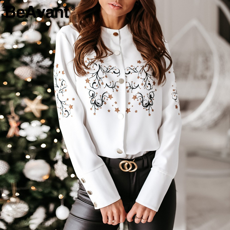 BeAvant 2020 Long Sleeve Women Blouses Shirts Vintage O Neck Casual Top And Blouse Fashion Ladies Summer Office Blusa Clothing