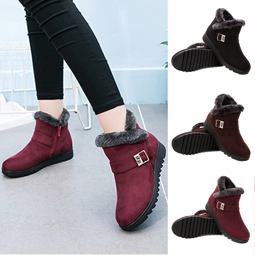 Women Winter Plush Snow Boots Warm Flat Solid Color Ankle Boots For Women Round Toe Non-Slip Casual Mother Shoes Size 35-41