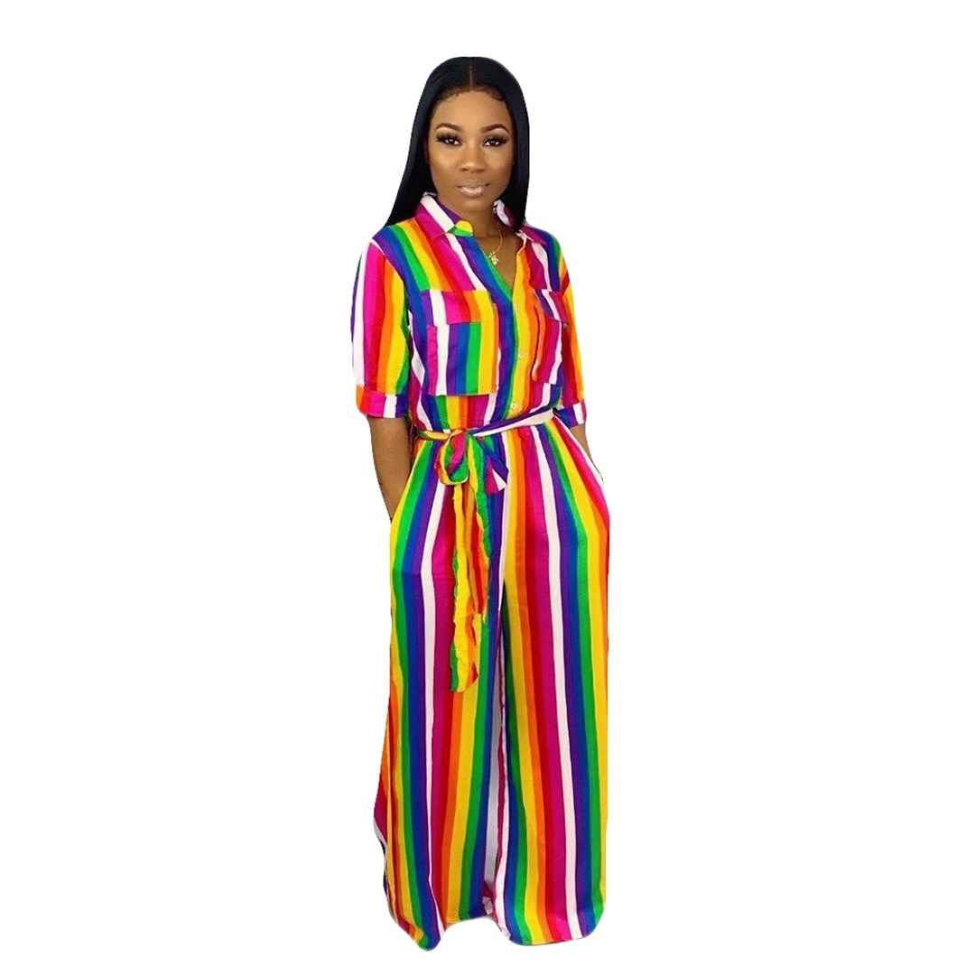 Nice Women Casual Rainbow Stripes Jumpsuit Turn Down Neck Loose Playsuit Lace Up Wide Leg Overalls