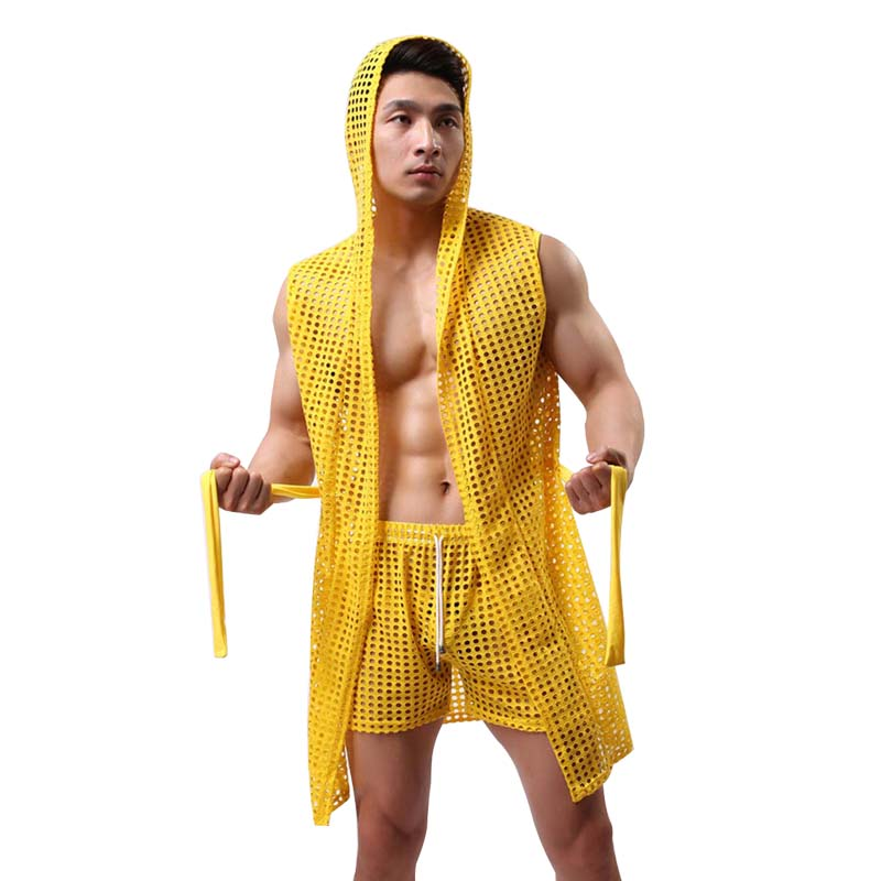 Men's Bathrobes Kimono Home Casual Sleepwear See Through Sexy Men's Bathrobe Gown Hooded Mantle Pijama Men Homme Badjas Dressing