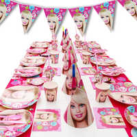 6Kids 95Pcs Cartoon Barbie Party Theme Baby Shower Boys Birthday Decoration Wedding Event Party Supplies Tableware Sets