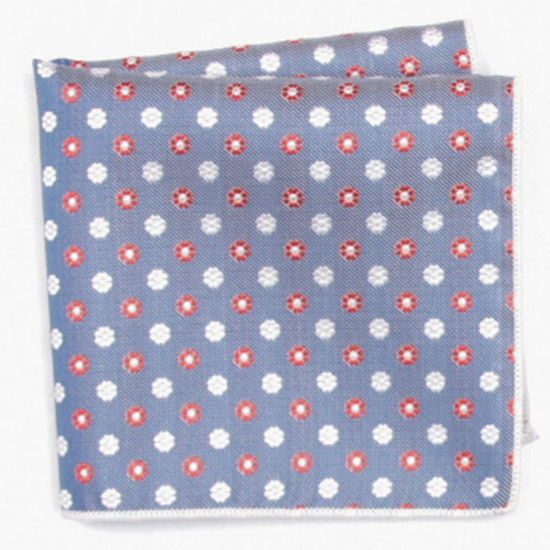 Blue Red Fashion Patterned Pocket Square With Patterns Handkerchief