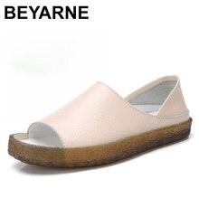 BEYARNEHandmadeของแท้หนังแบนรองเท้าแตะสำหรับสตรี,รองเท้าสบายๆฤดูร้อนรองเท้า,รองเท้าแตะสำหรับสตรีขนาดใหญ่ขนาด 35 43E045