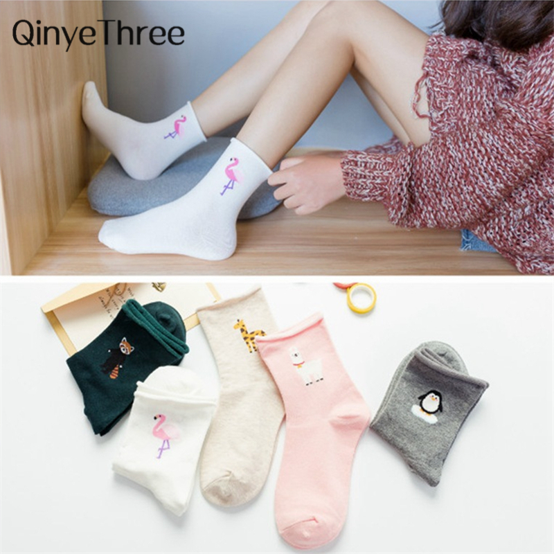 Lovely Cartoon Animal Socks Flamingo Penguin Giraffe Raccoon Alpaca Crimping Piled Socks Soft Confinement Loose Mouth Socks