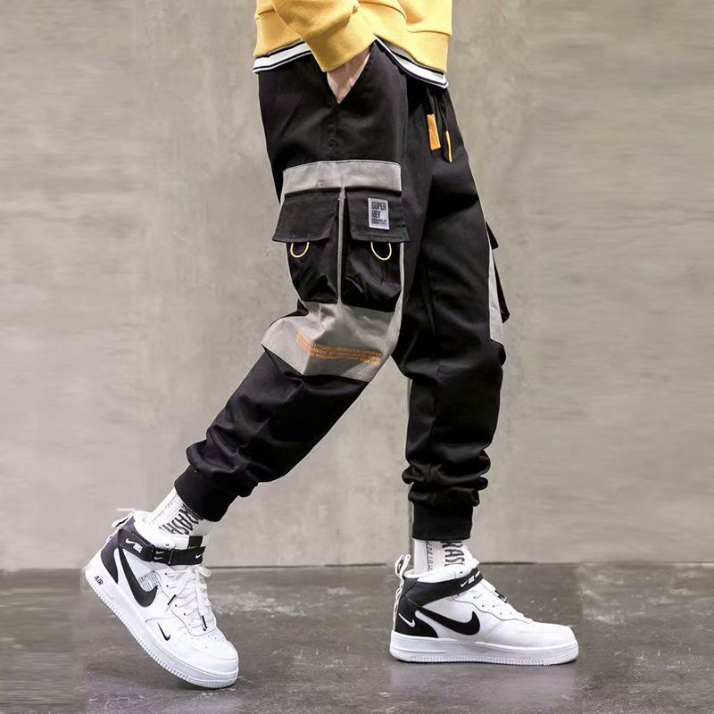 Cargo Pants Men Black Hip Hop Pants Joggers Harem Pants Elastic Waist Loose Baggy Korean Style Ankle Length Trousers