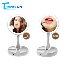 Makeup-Mirror Led-Light Cosmetic Foldable with Round-Shape Desktop-Double-Sided Vanity