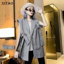 XITAO Bandage Bow Patchwork Vest Fashion Bright Diamond Decoration 2021 New Women Solid Color Temperament All-match LDD1671