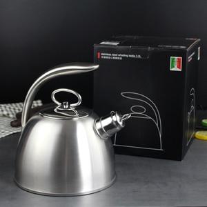 Image 4 - 3L Stahl Wasser Kochen Wasserkocher 304 Pfeife Wird Kapazität Kochendem Wasser Wasserkocher Haushalt Flachen Boden Kohle Gas Elektromagnetische Ofen