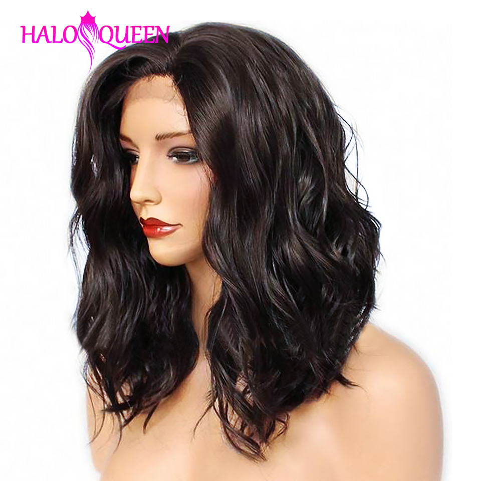 HALOQUEEN Lace Front Human Hair Wigs Hair Brazilian Remy Hair Body Wigs Pre-Plucked Hairline Wavy 8-14 Inches Short Bob Wigs