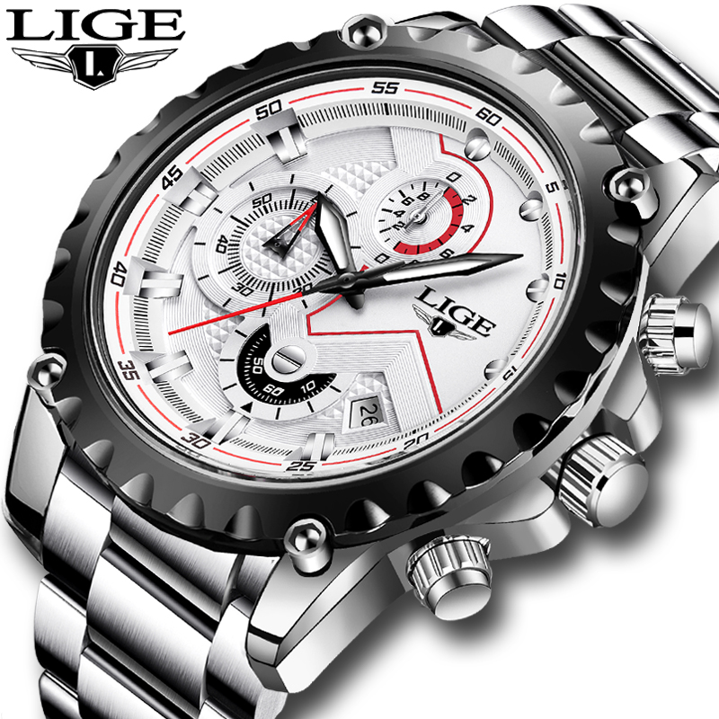 2020 LIGE Fashion Silver Mens Watches Top Luxury Brand Stainless Steel 30m Waterproof Quartz Watch Men Army Military Chronograph
