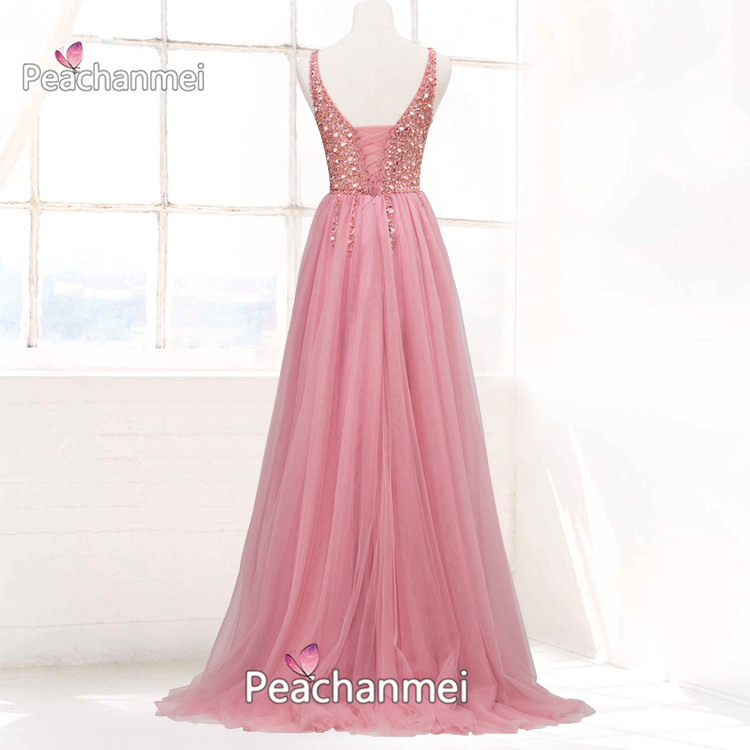 Real Photos Formal Evening Dress Long A Line Robe De Soiree Prom Dress Tulle Elegant Ball Gowns Sexy Backless V Neck Party Dress