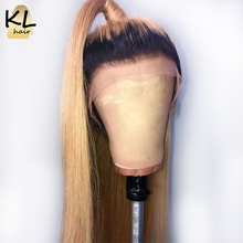 Honig Blonde Ombre 1B/27 Spitze Vorne Menschenhaar Perücken Für Frauen Brasilianische Remy Haar Vor Gezupft 13*4 spitze Perücken Mit Baby Haar KL