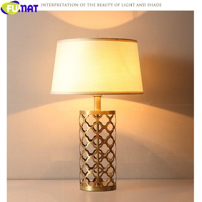 Фумат классический полый лист Дизайн латунная Ткань Абажур Настольная лампа для чтения украшение на стол для дома свет роскошный Северная