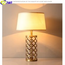 FUMAT Classical Hollow Leaf Design Brass Cloth Lampshade Desk Read Lamp Home Decor Table Light Luxury North Europe style E27 LED(China)