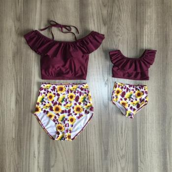 Mom daughter swimsuit baby girl sunflower swimsuit mom me summer fashionable swimsuit фото