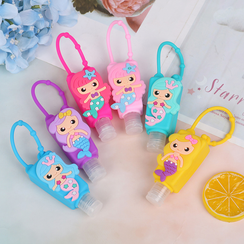 30ml Embossed Cute Colored Cartoon Owl Shape Silicone Mini Hand Sanitizer Detachable Cover Travel Portable Refillable Bottle