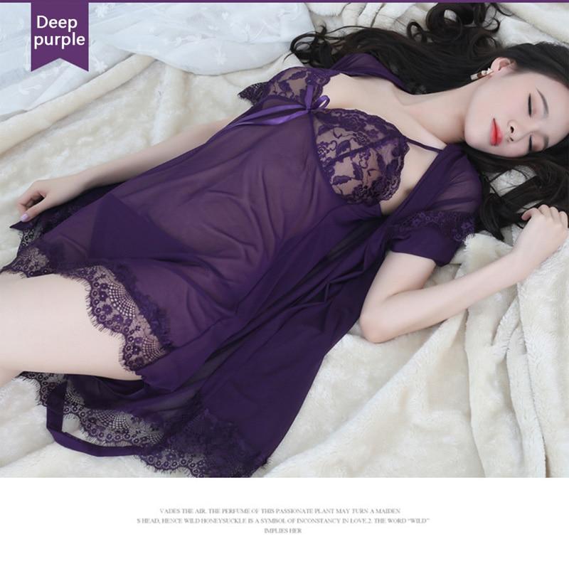 LKlady Underwear Three Piece Suit Lace Sexy Pajamas Perspective Wear Ladies Mesh Gauze Nightdress
