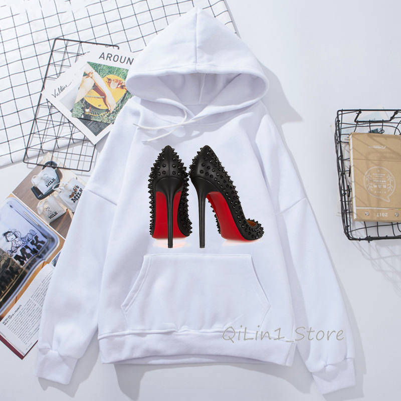 Vogue High Heels Sexy Lip Print Hoodies Women Autumn Winter Vogue Princess Women's Sweatshirt Streetwear Oversize Free Shiping