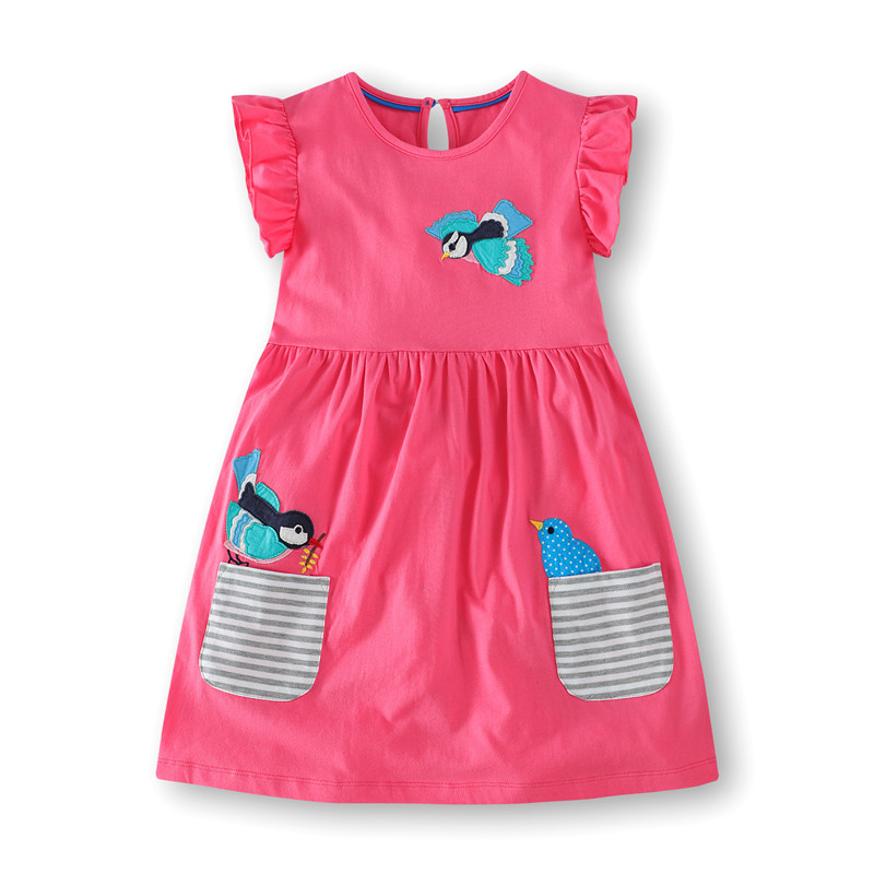 New Designed Baby Girls Summer Dresses Kids Hot Selling Cartoon Dress With Applique Some Lovely Animals Girls Striped Dress