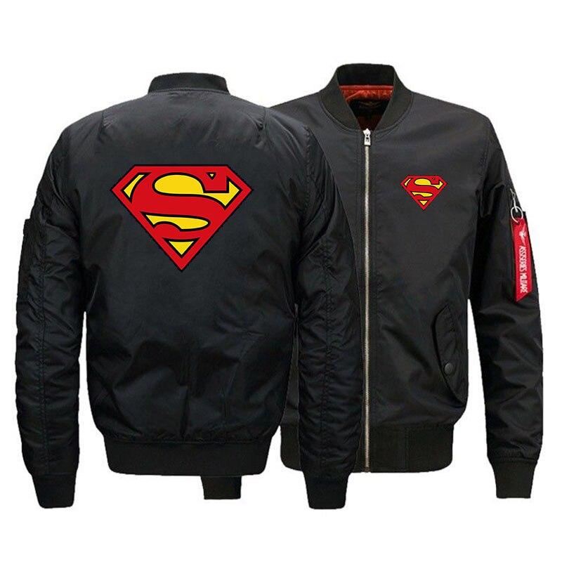 Super héros militaire homme MA-1 vol Bomber veste Superman Baseball varsité collège épais imperméable manteau d'hiver pour les hommes