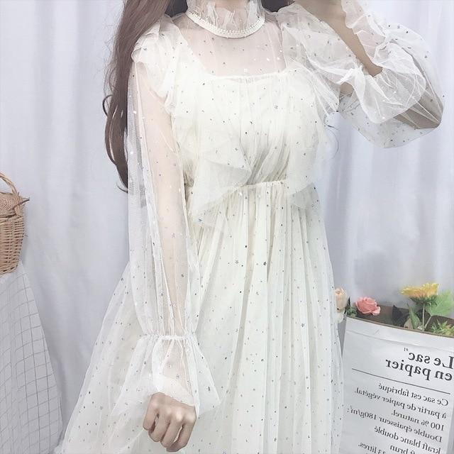 Купить милое летнее платье в стиле лолиты винтажное с рюшами и сетчатое картинки цена