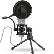 מיקרופון Stand חצובה עם מסנן פופ מיקרופון Stand סוגר תמיכת שולחן העבודה מתכוונן עמיד הלם Stand עבור מיקרופון אבזרים